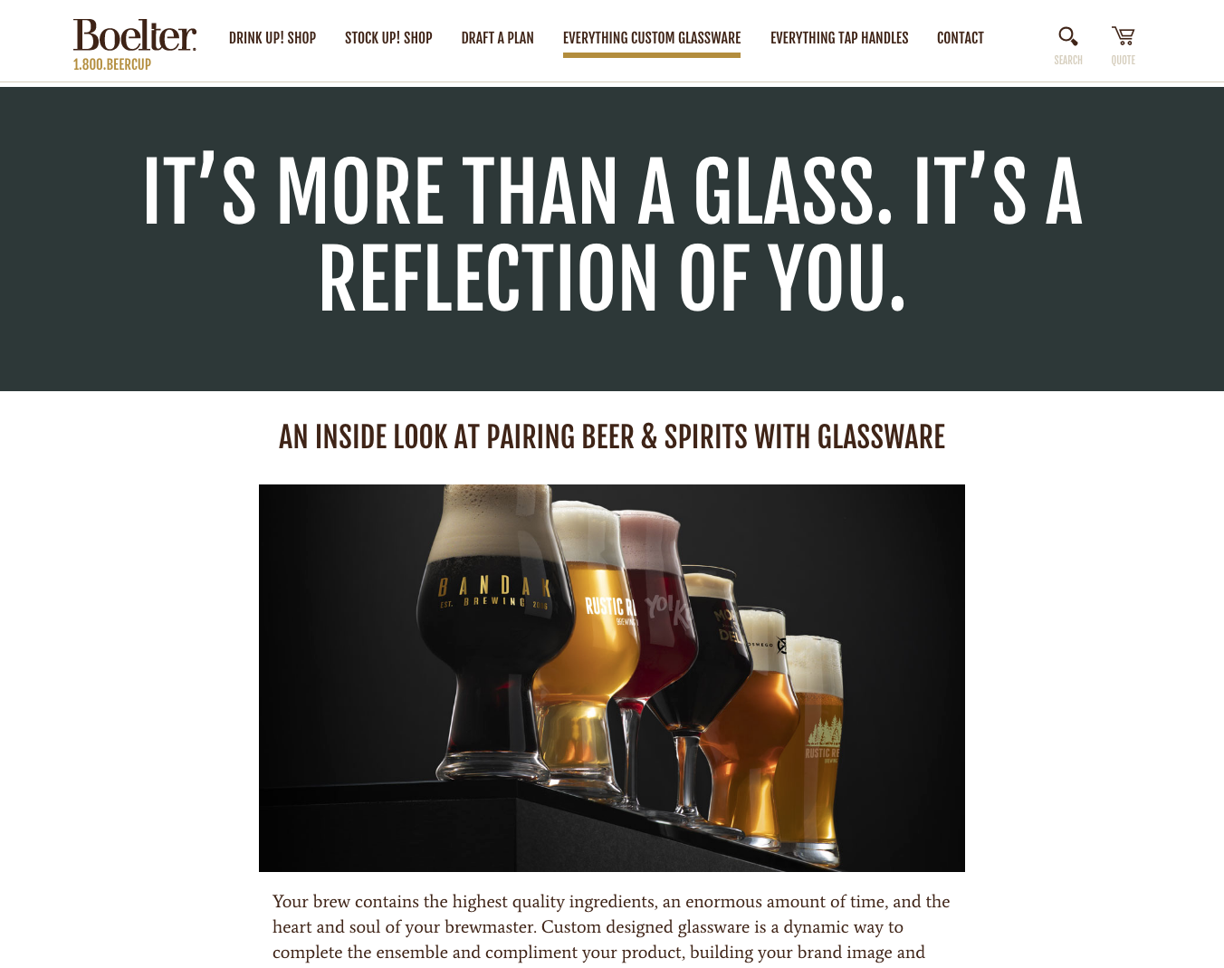 BeerCup Custom Glassware Pillar Page