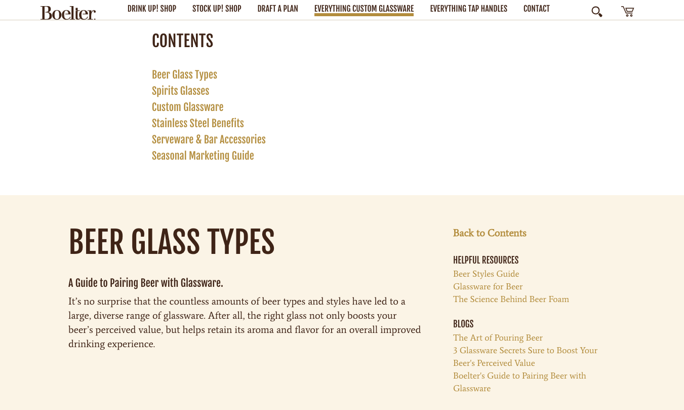 Custom Glassware page navigation links