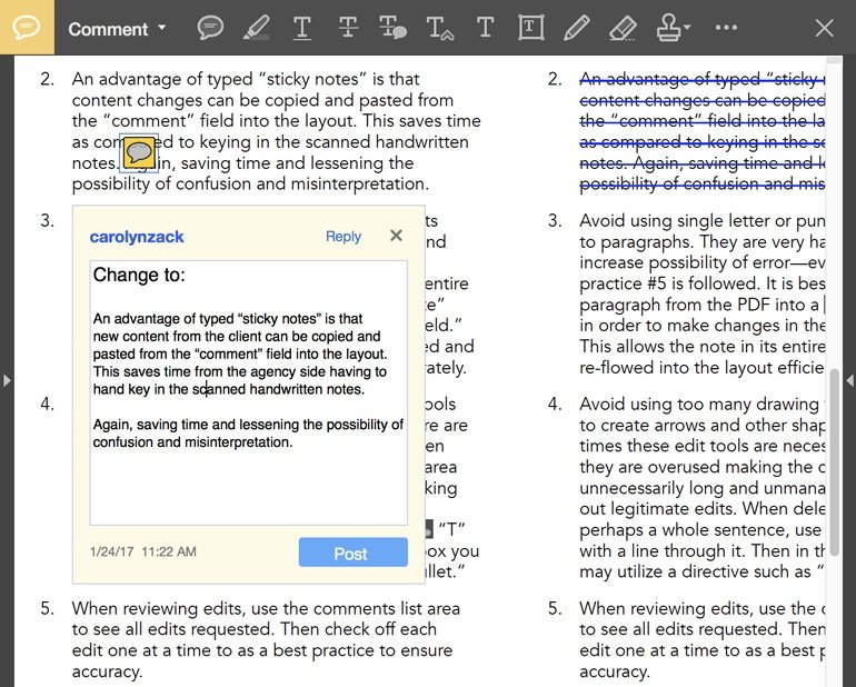 using a sticky note to revise text in adobe acrobat pro