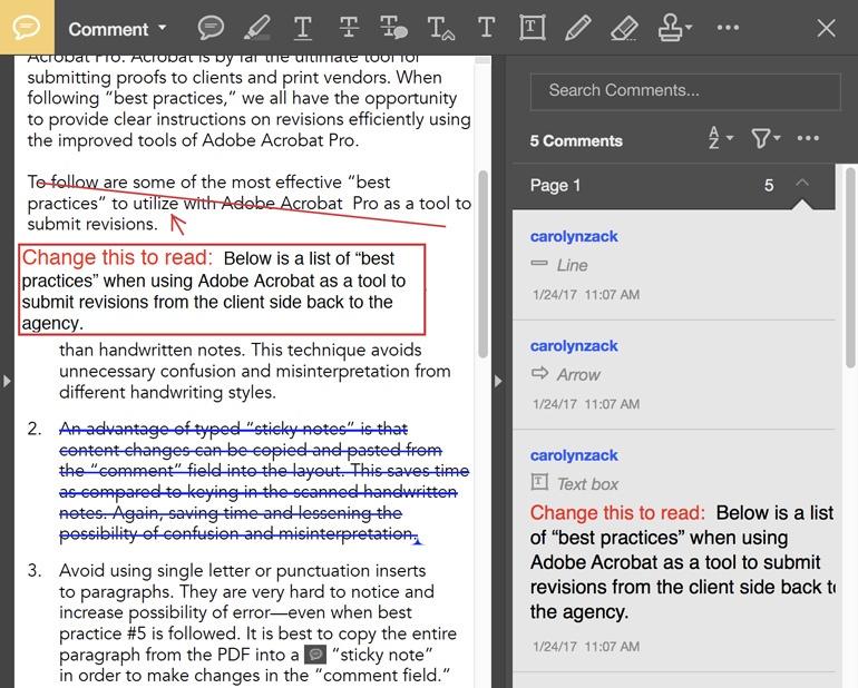 inefficient revision markup using adobe acrobat pro