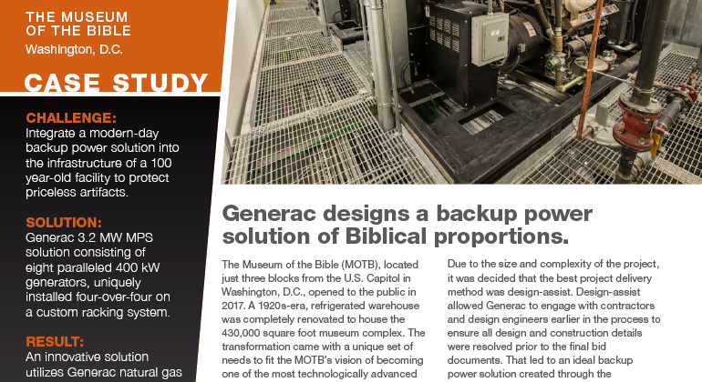 Generac case study on The Museum of the Bible