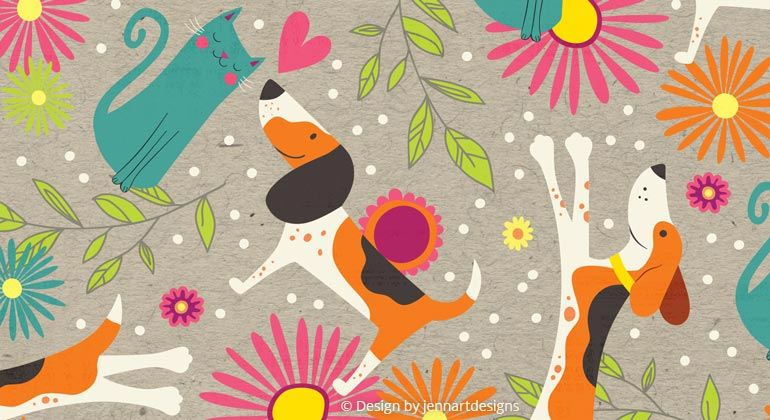 fun textile pattern of cats and dogs