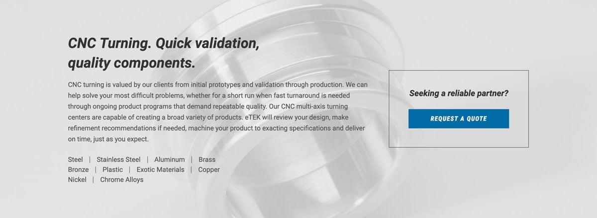 eTEK Precision Manufacturing CTA
