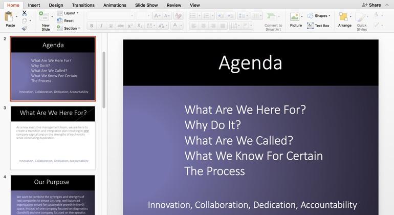 Simple PowerPoint slide layouts