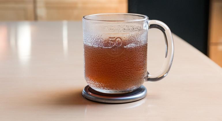 clean bright tea in mug