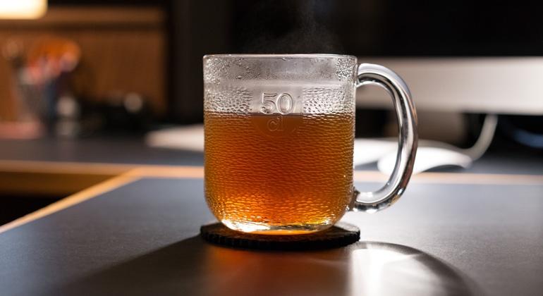 moody tea in mug