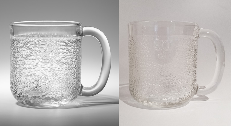 Two mugs showing good and bad photography