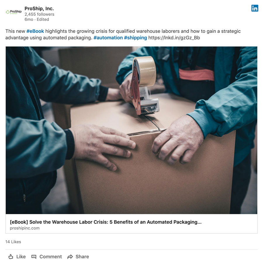 ProShip eBook shared on LinkedIn