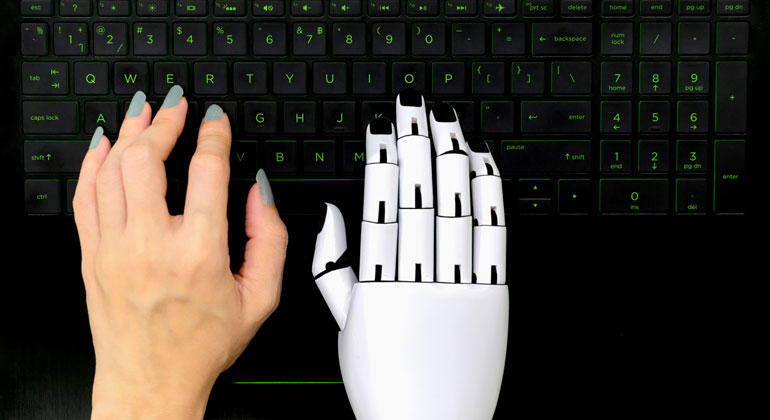 Chatbot typing on keyboard