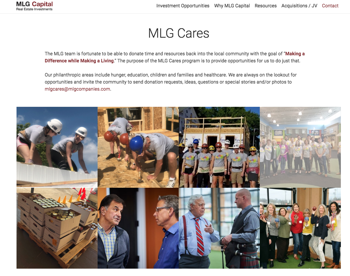 MLG Cares volunteers