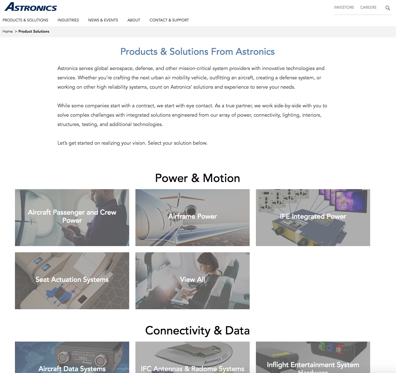 Product & Solutions selection page