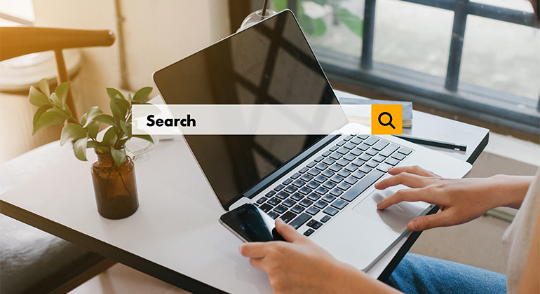 woman performing search online